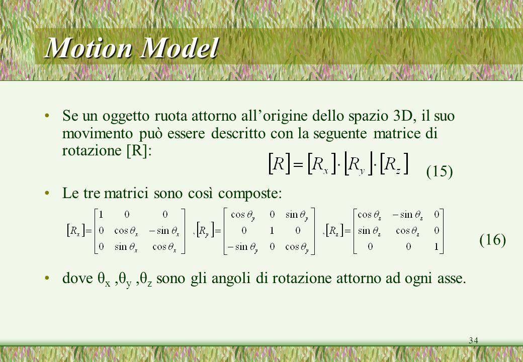 Motion Model Se un oggetto ruota attorno all'origine dello spazio 3D, il suo movimento può essere descritto con la seguente matrice di rotazione [R]: